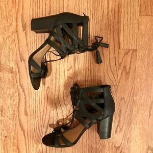 Lace-up stacked heel sandals